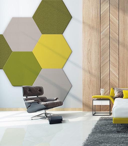 Panneaux acoustiques AirPanel 1 face Hexagone de Texdecor